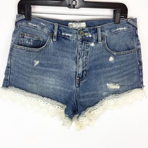 Free People Jean Shorts 29 High Rise Lace trim hem